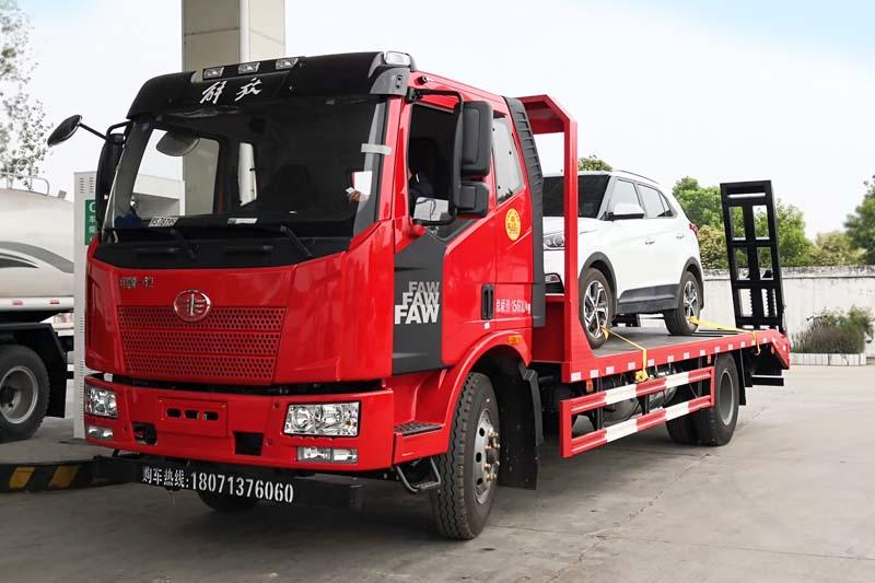 解放j6单桥平板运输车拖车